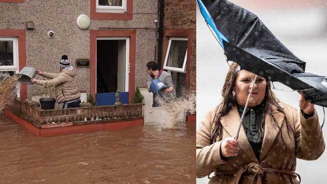 Heavy flooding hit parts of the UK as the storm developed