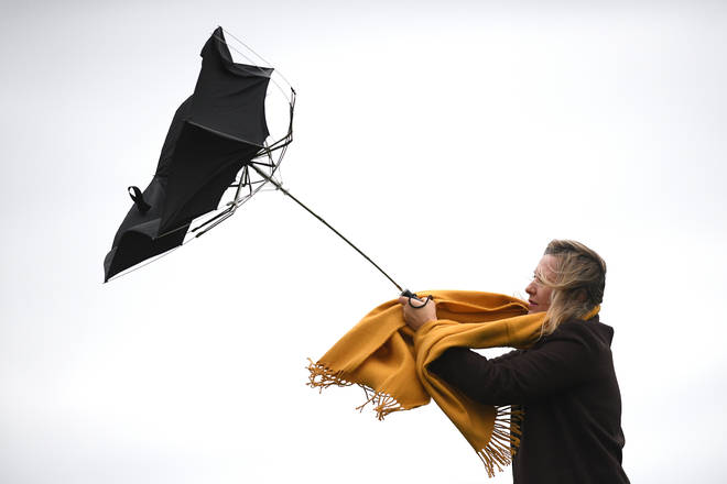 Winds of almost 100mph hit the UK on Sunday