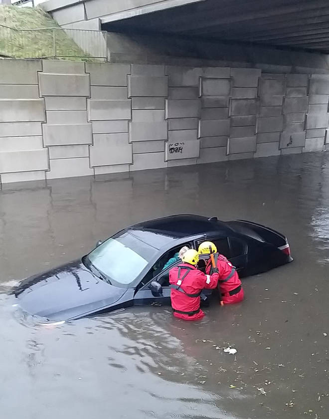 In some areas firefighters rushed to rescue people trapped in vehicles