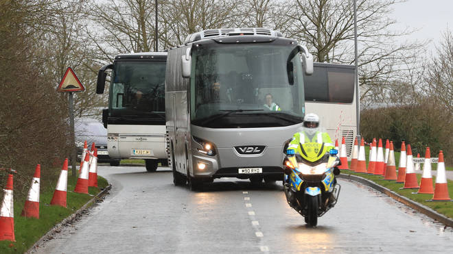 Coaches carrying Coronavirus evacuees arrive at Kents Hill Park Training and Conference Centre, in Milton Keynes
