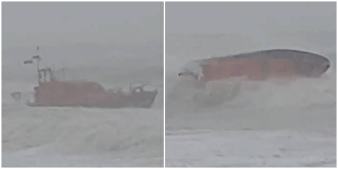 The lifeboat very nearly capsized