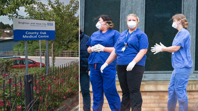 County Oak medical centre in Brighton, left, was closed. Right - staff at Kents Hill Park Training and Conference Centre, in Milton Keynes after Brits arrived from Wuhan