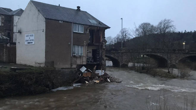 a guest house in Hawick in Scottish Borders has partially collapsed