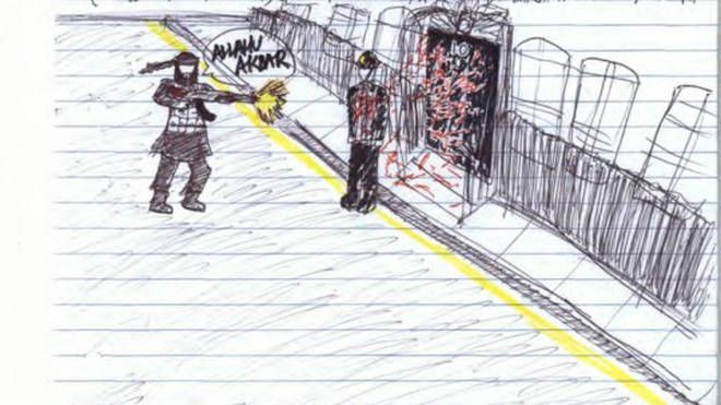 A sketch released by Metropolitan Police showing a terrorist outside 10 Downing Street was shown to his previous trial.