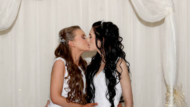 Robyn Peoples (left) and Sharni Edwards (right) tied the knot in County Antrim on Tuesday