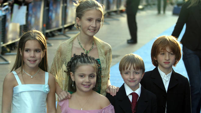 Raphael Coleman pictured with his co-stars at the Nanny McPhee premiere