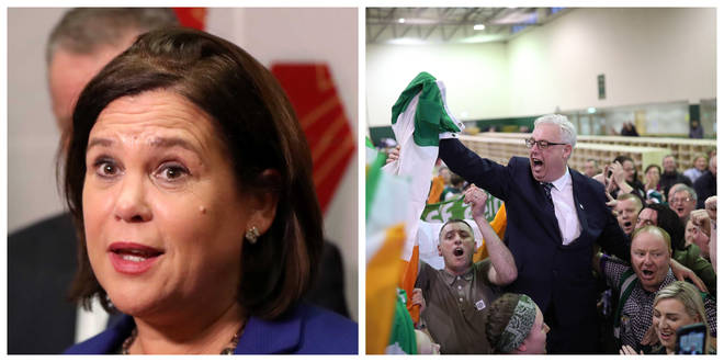 Sinn Fein leader Mary Lou McDonald (left) / TD Thomas Gould celebrates victory in Cork North Central