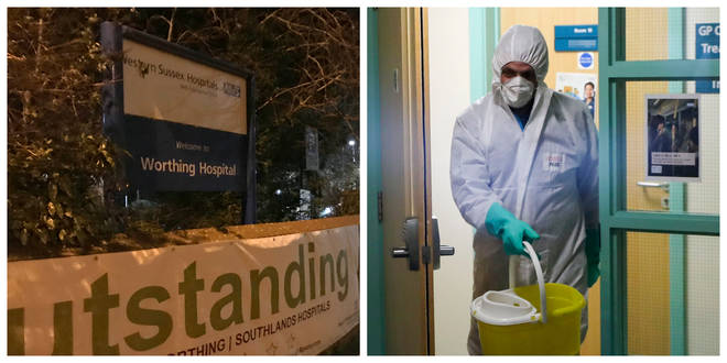 Worthing Hospital / A man in protective clothing cleaning the County Oak Medical Centre GP practice in Brighton
