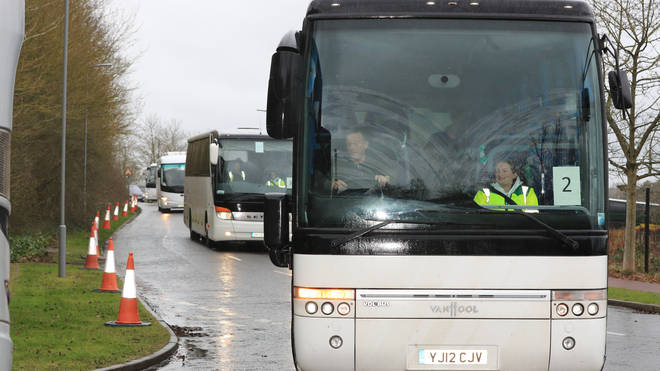 Coaches carrying Coronavirus evacuees arrive at Kents Hill Park Training and Conference Centre, in Milton Keynes, after being repatriated to the UK from the coronavirus-hit city of Wuhan