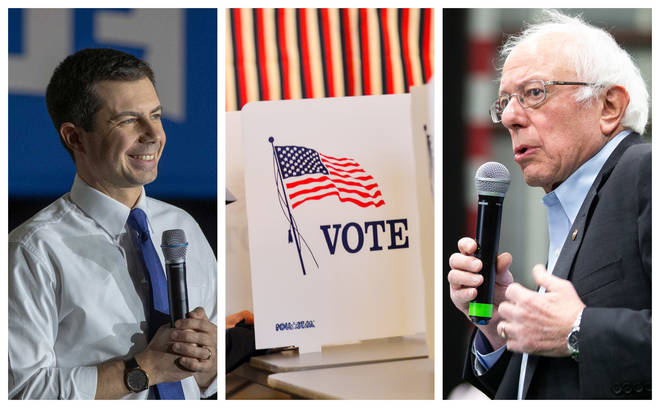 Pete Buttigieg (left) and Bernie Sanders are the race frontrunners