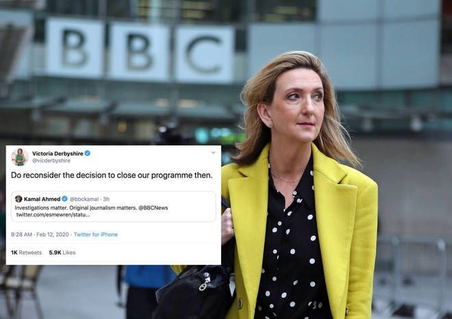 Victoria Derbyshire has hit out after a BBC executive praised another programme for its original journalism while axing hers