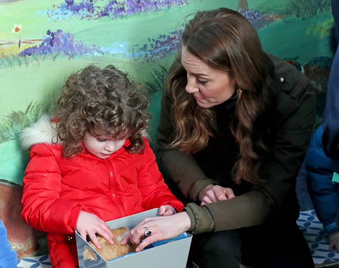 The Duchess of Cambridge met with young children on the farm