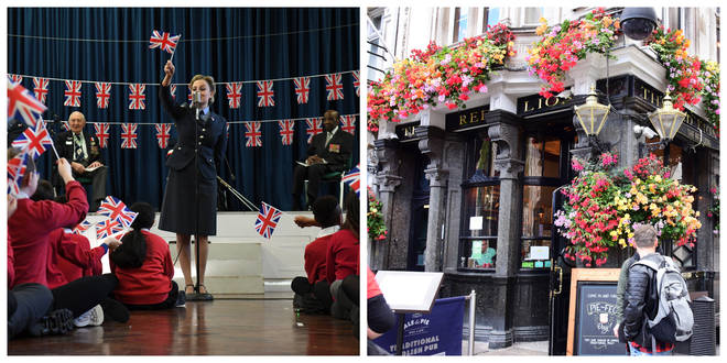 The D-Day Landings perform to raise awareness of the 75th anniversaries of VE and VJ day / Pubs will stay open longer
