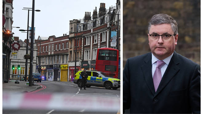 The scene of the Streatham terror attack / Justice Secretary Robert Buckland