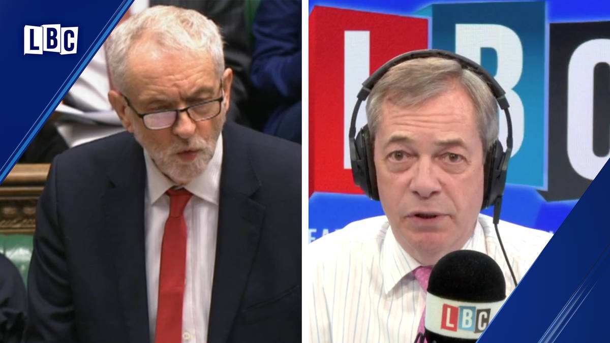 Nigel Farage clashes with caller who says Jeremy Corbyn is right in deportation row