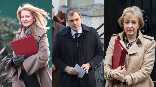 Esther McVey (l) Julian Smith, and Andrea Leadsom (r) have all lost their ministerial roles