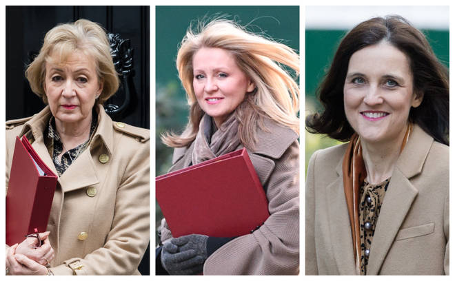 (left to right) Andrea Leadsom, Esther McVey and Theresa Villiers were all ousted from the Cabinet