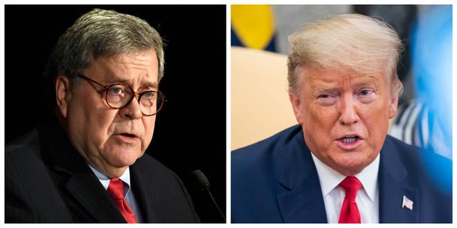 US Attorney General William Barr (left) slammed President Donald Trump's use of Twitter