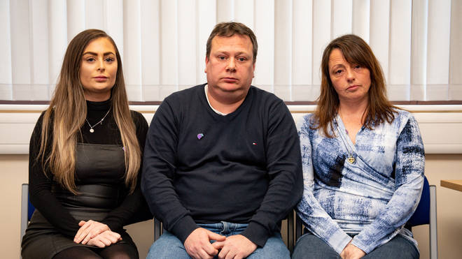 (left to right) Leah Croucher's sister Jade Croucher, father John Croucher and Mother Claire Croucher