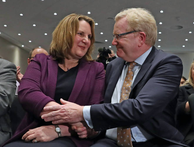 Jackson Carlaw was congratulated by rival Michelle Ballantyne as he was declared leader