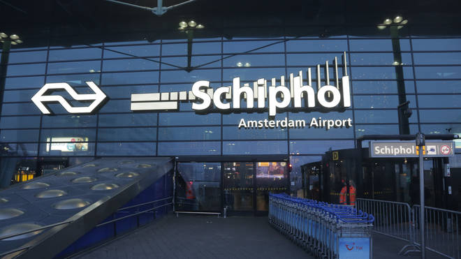 Mr Browning was forced to stand in a queue at Schipol Airport
