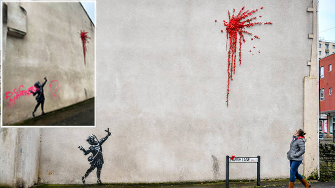 The Banksy artwork and with the graffiti, inset