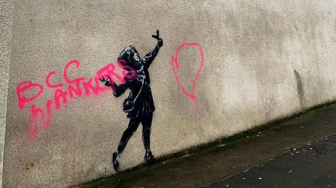 The vandalised Banksy artwork in Barton Hill, Bristol