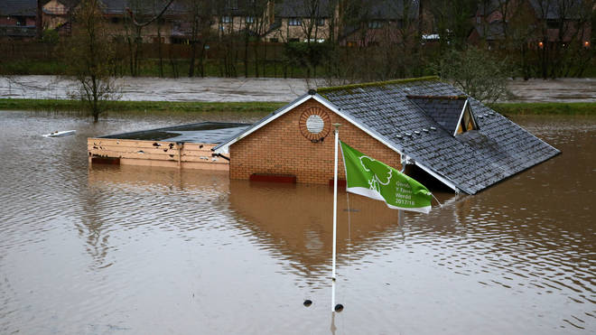 Flood water surrounds the bowling club after the River Taff burst its banks in Taffs Wells, north of Cardiff