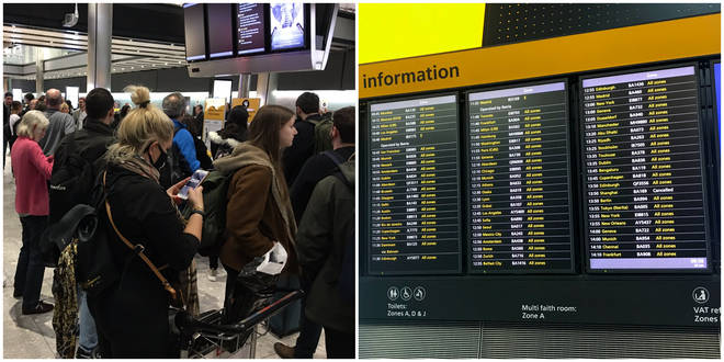 Departure boards at Heathrow are not working, sparking chaos for travellers