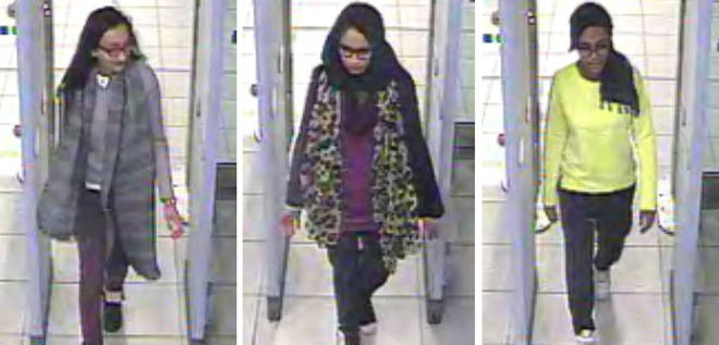 Begum (centre) was one of three schoolgirls from Bethnal Green who joined ISIS in 2015