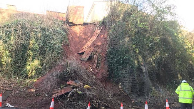 A landslip at Exonia Park in Exeter was just metres from people's homes