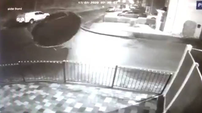 The footage appears to show the trampoline going rogue