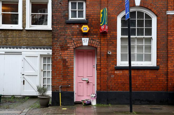 Flower tributes laid outside the home of former Love Island host Caroline Flack