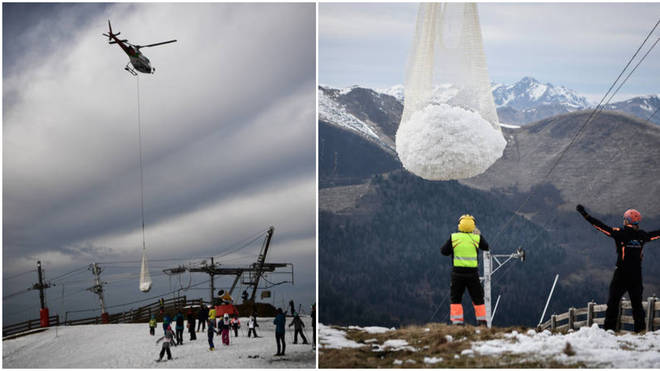 Helicopters were used to deliver snow to the ski resort