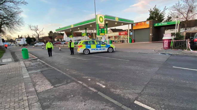 Police at the scene of the suspected hit and run in Sutton