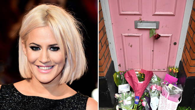 Caroline Flack took her own life on Saturday - right, floral tributes at her former home