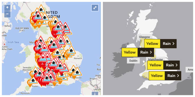 There are flood warnings across the UK