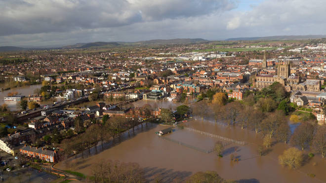 Flooded fields in Hereford