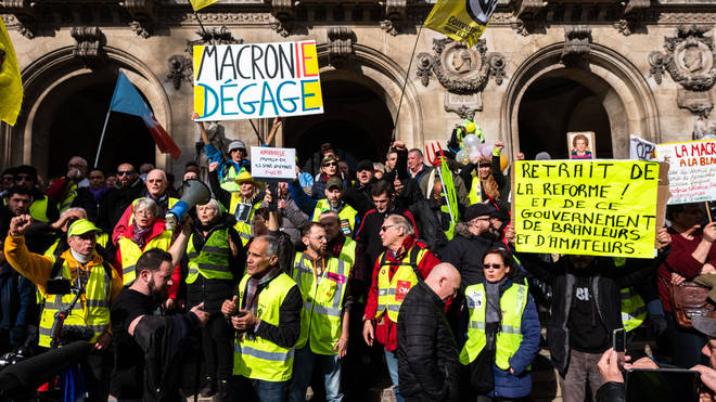 Yellow vest protesters on the streets of Paris
