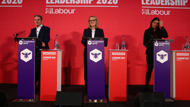 Sir Keir Starmer, Rebecca Long-Bailey and Lisa Nandy speaking at a hustings event for Labour Leader and Deputy Leader