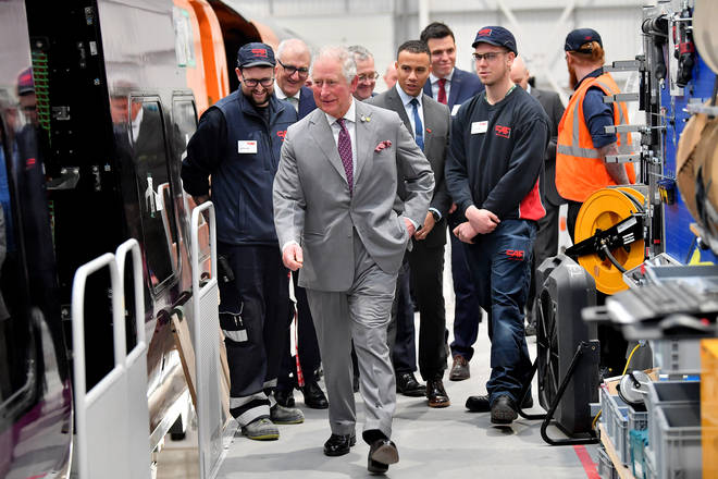 The heir to the throne is meeting engineers at the firm's new Wales factory