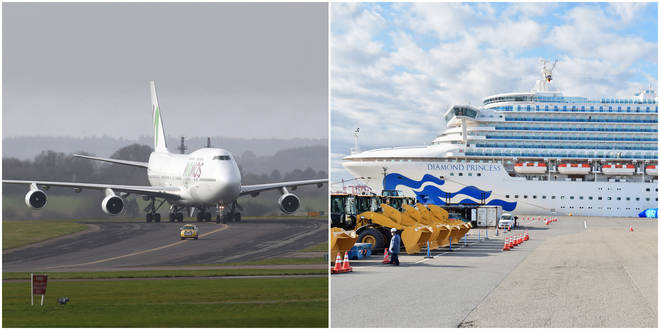 Passengers from aboard Diamond Princess landed in the UK this morning