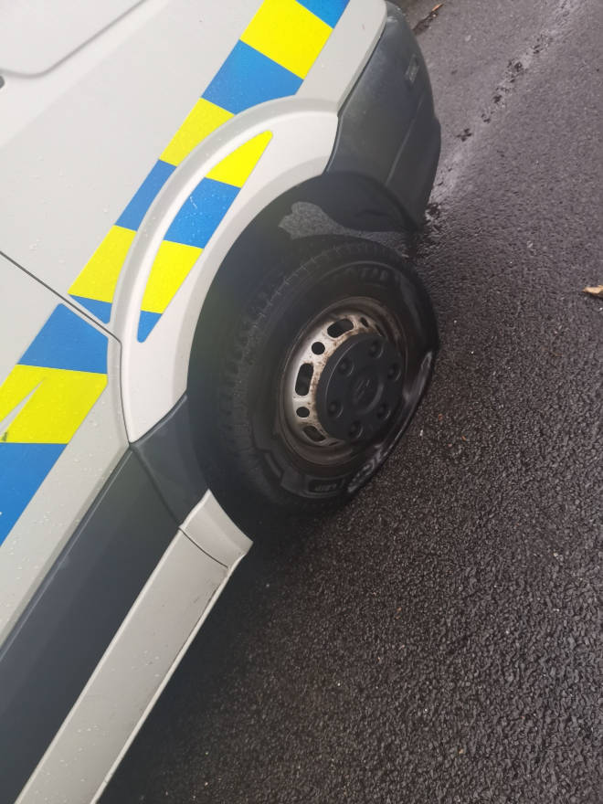 Two of the vehicles had their tyres slashed