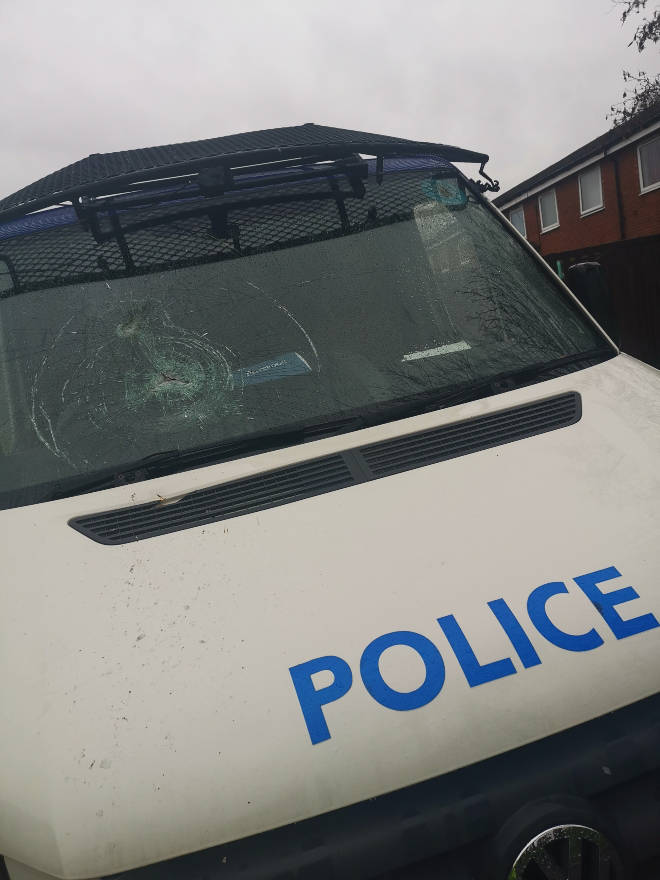 Two of the vehicles had their windscreens smashed