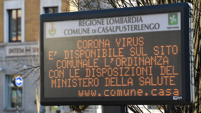 """A municipal information sign reads """"Coronavirus, the ordinance with the requirements of the Ministry of Health is available on the municipal website"""