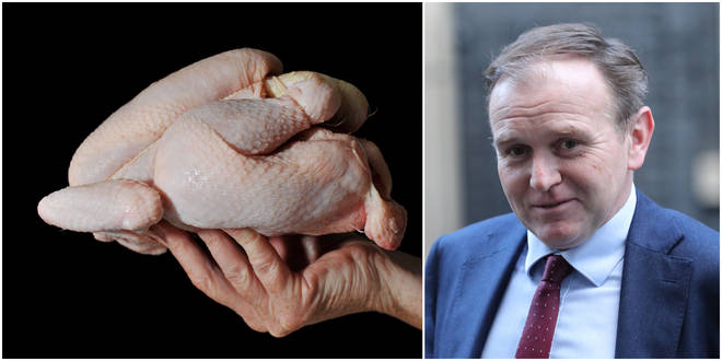 George Eustice has ruled out importing chlorinated chicken from the US