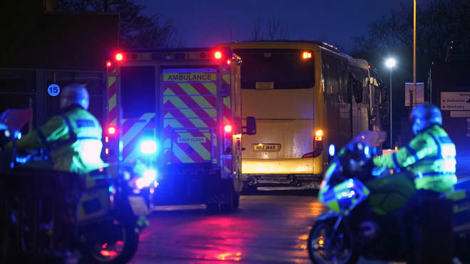 British Diamond Princess evacuees arrive at Arrowe Park Hospital on February 22