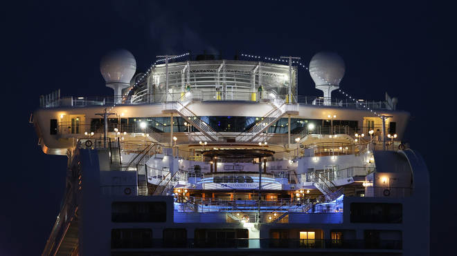 Diamond Princess cruise ship at Daikoku Pier on February 21, 2020 in Yokohama, Japan