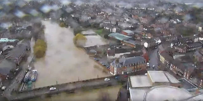 The drone footage shows the extreme flooding in Shrewsbury