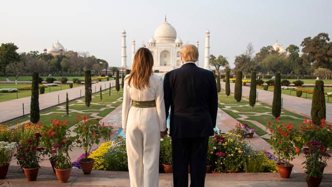 Donald Trump and his wife Melania at the Taj Mahal